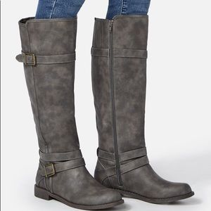 Faux Leather Gray Riding Boots